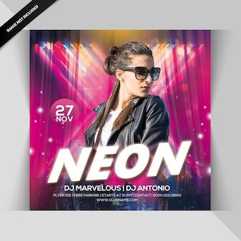 Neon club feest flyer