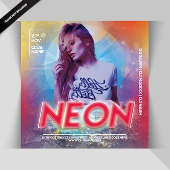 Neon feest flyer
