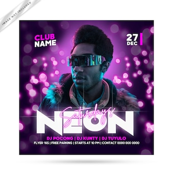 Neon flyer feest
