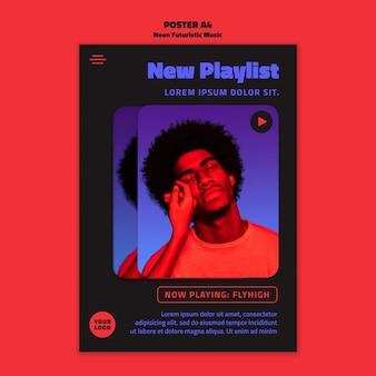 Neon futuristische muziek folder sjabloon