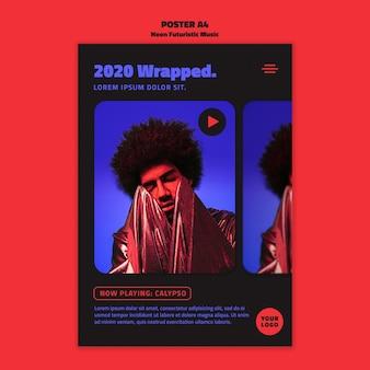 Neon futuristische muziek poster sjabloon