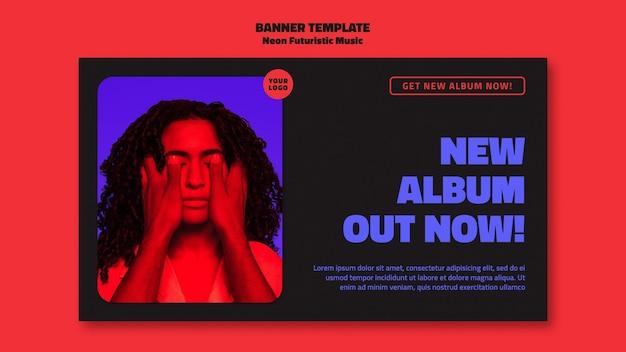 Neon futuristische muziekadvertentiesjabloon voor spandoek