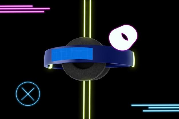 Neon hoofdtelefoon mockup