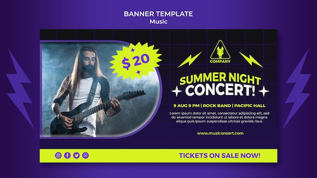 Neon horizontale banner voor zomernachtconcert