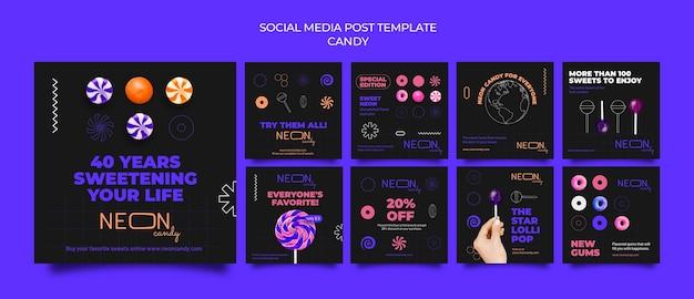 Neon instagram posts collectie voor snoepwinkel
