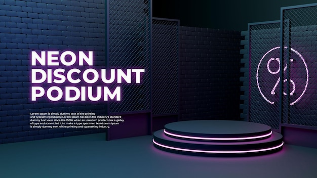 Neon light glow sale 3d realistisch podium product promo display