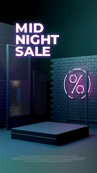 Neon light glow sale 3d realistisch podium product promo display Premium Psd