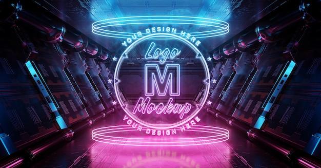 Neon logo hologram met gloeiend effect mockup