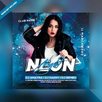 Neon nacht feest flyer