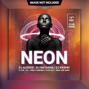 Neon nacht partij flyer