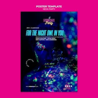 Neon nacht partij poster