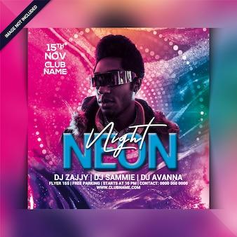 Neon night party flyer-sjabloon