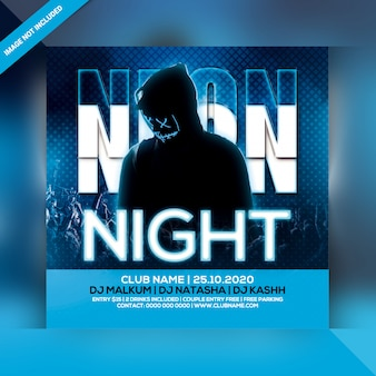 Neon night party flyer