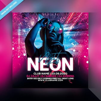 Neon nights party flyer