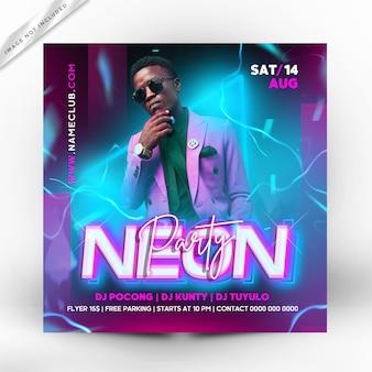 Neon partij flyer vierkante sjabloon