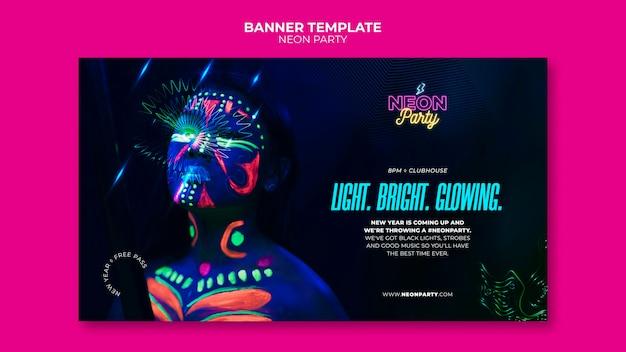 Neon partij horizontale banner