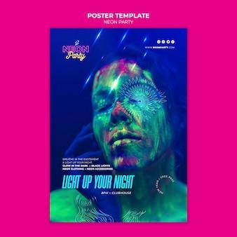 Neon partij poster sjabloon