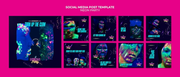 Neon partij sociale media post-sjabloon