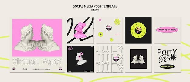 Neon party social media posts