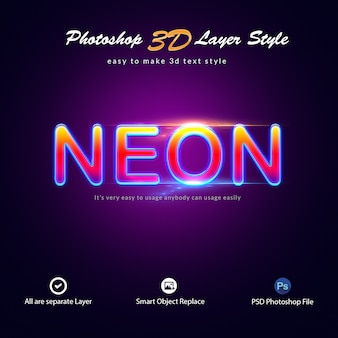 Neon photoshop layer style teksteffecten