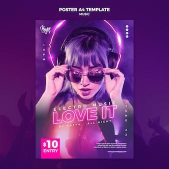 Neon poster sjabloon voor elektronische muziek met vrouwelijke dj