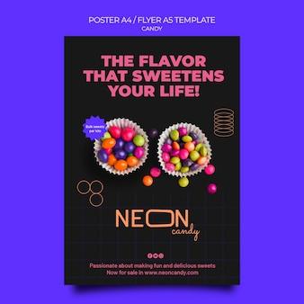 Neon postersjabloon voor snoepwinkel