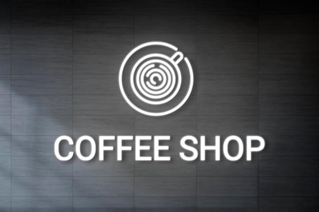 Neon reliëf logo mockup psd voor coffeeshop Gratis Psd