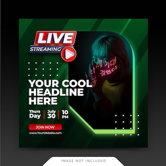 Neon retro concept live streaming instagram post sociale media verhalen sjabloon