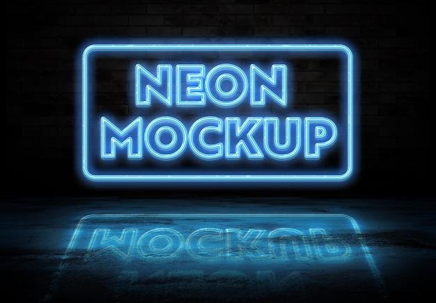 Neon sign teksteffect reflecterend op de grond mockup