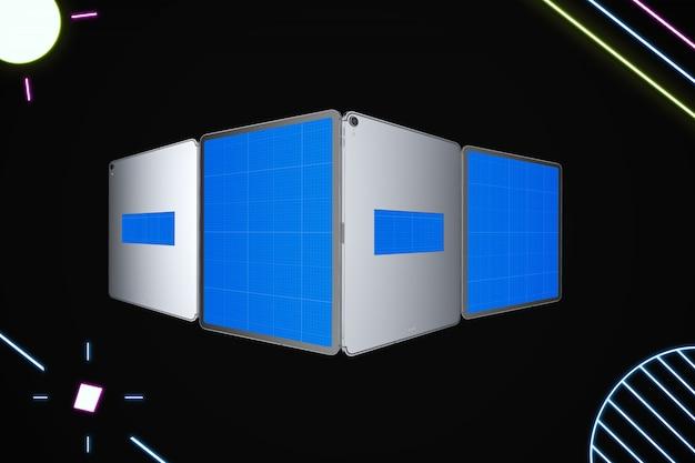 Neon silver tablet mockup