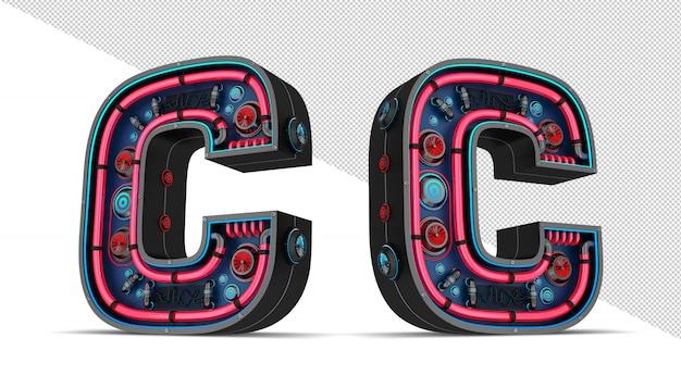 Neon teken in letter c vorm
