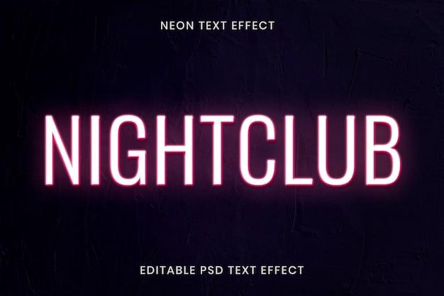 Neon teksteffect psd bewerkbare sjabloon