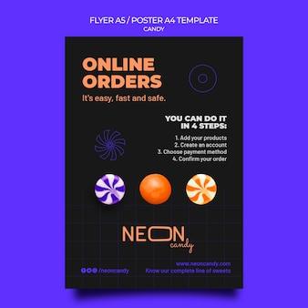 Neon verticale postersjabloon voor snoepwinkel