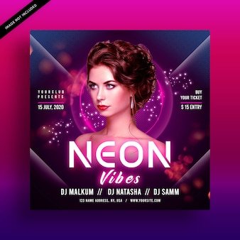 Neon vibes party flyer