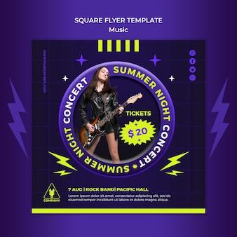 Neon vierkante flyer-sjabloon voor zomernachtconcert