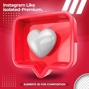 Neon zoals instagram geïsoleerd in 3d render-ontwerp