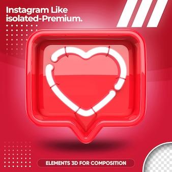 Neon zoals instagram geïsoleerd in 3d render ontwerpen