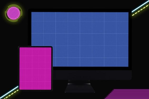 Neoncomputer en tabletmodel
