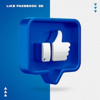 Net als facebook 3d geïsoleerd