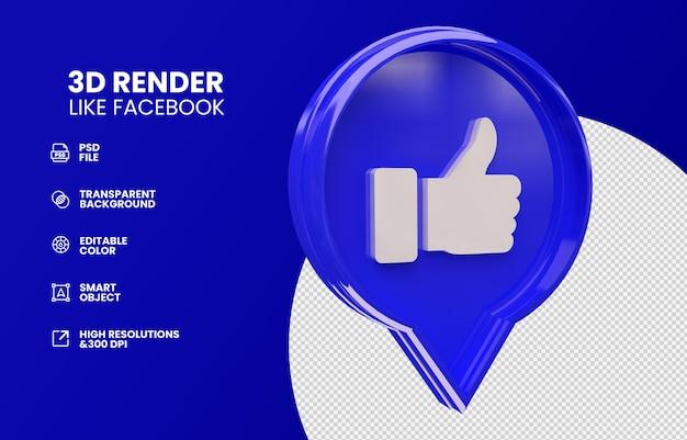 Net als facebook geïsoleerd in 3d render
