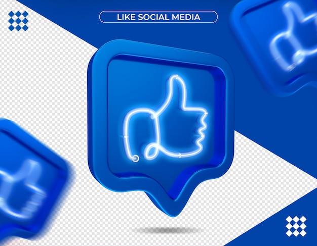 Net als facebook in 3d-rendering geïsoleerd