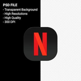 Netflix logo 3d pictogram rendering geïsoleerd