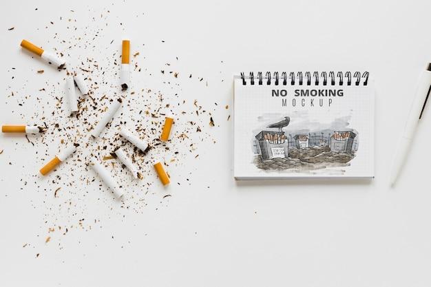Niet roken concept met notebook