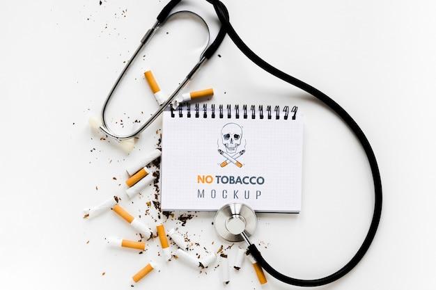 Niet roken mock-up boven weergave