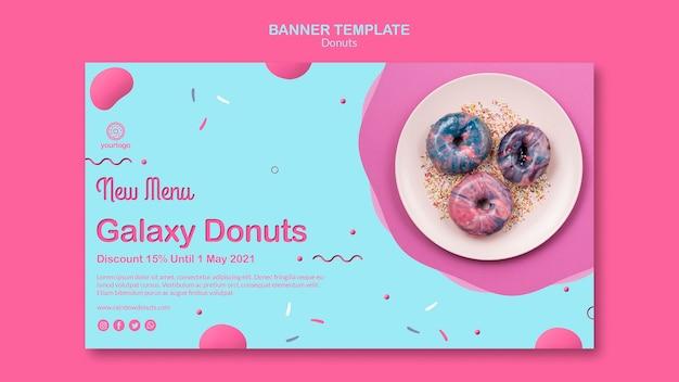 Nieuw in menu galaxy donuts-sjabloon voor spandoek