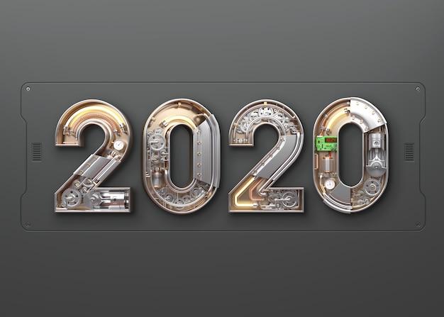 Nieuw jaar 2020 gemaakt van mechanisch alfabet