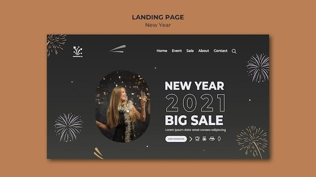 Nieuw jaar concept bestemmingspagina sjabloon