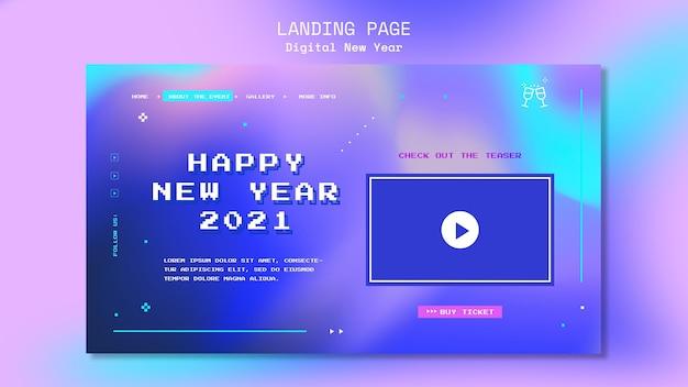 Nieuw jaar concept bestemmingspagina sjabloon Premium Psd