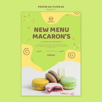 Nieuw menu macaron's poster sjabloon