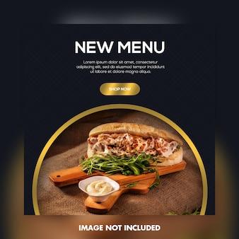 Nieuw menu voedsel sociale media banner sjabloon